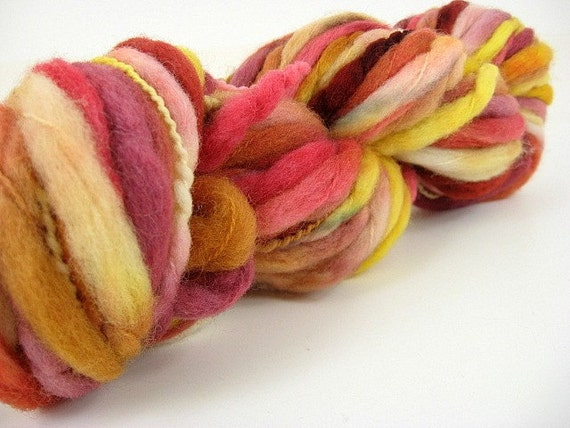 Wooly Bear (Marigolds) - Handpainted Wool Superfat Thick and Thin Yarn