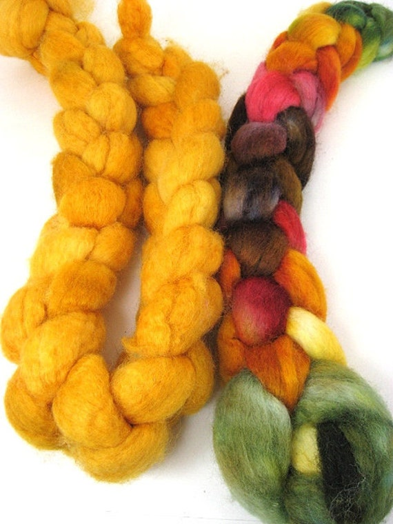 Spinning Two Pack- Chevalier and Deep Mustard OOAK- 5.5 oz spinning fiber combed top roving