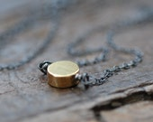 small moon necklace . 16K goldplated brass circle . oxidized sterling silver