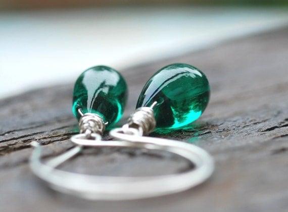 Emerald Green Gemstone Earrings . Sterling Silver Smooth Teardrop Wire-Wrapped Big Jewelry