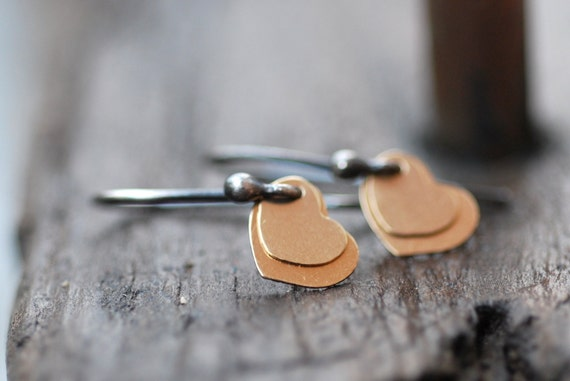 Small Gold Hearts Earrings . Sterling Silver & 14-Karat Goldfilled Layered Hearts Simple Modern Mixed Metal Jewelry Gift