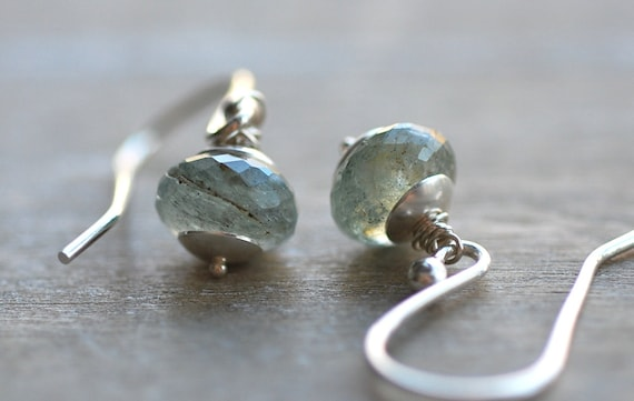 drops of rain earrings . moss aquamarine . sterling silver