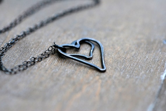 CYBER MONDAY Etsy Two Heart Sterling Silver Necklace . Oxidized Handmade Organic Dark Metal Love Jewelry Romance Gift