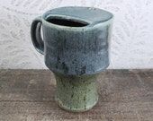 Travel Mug - Ceramic - Moss Green and Teal Blue with a Handle