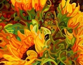 budanArt 8.5 x 11 Print - Four Sunflowers
