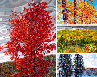 Autumn 2 - fine art print note card tree forest gold