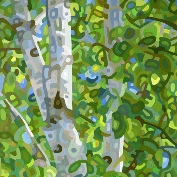 SALE - Summer Birches - Small Fine Art Mounted Print Green Trees Forest