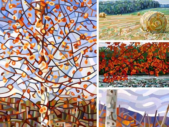 Autumn 1 - note cards fine art print fall orange red trees fields
