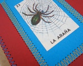 Spider Journal . Small Moleskine . Stitched Loteria Spider in Web . Lined Pages