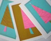 Holiday Cards . Set of 3 .  Stitched Christmas Trees . Pick Your Color Palette