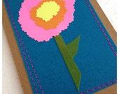 Flower Journal . Moleskine Notebook . Stitched Retro Flower .