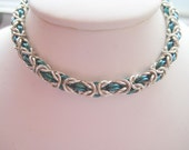 Green Niobium and Sterling Silver Chainmail Bracelet
