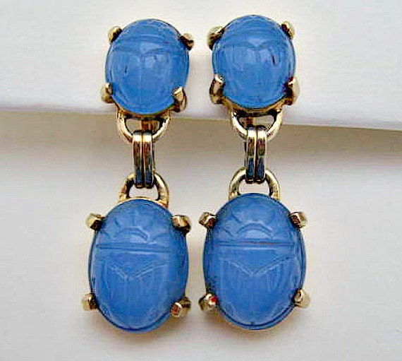 Vintage Dangle Earrings - Blue Glass Egyptian Scarabs - Screwbacks - US Shipping Included