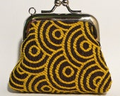 Teeny Tiny Square Frame Coin Pouch - Brown, Yellow