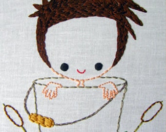 Boy in Garden Pail, Girl in Flower Pot Cutesie Digital Embroidery Patterns