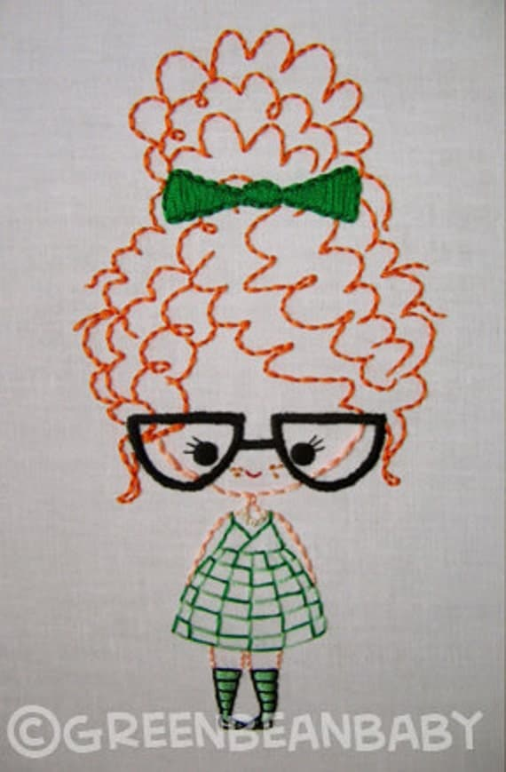 Classroom Girl with glasses, Girl with braids, and Girl with bun Cutesie Girls Digital Embroidery Patterns