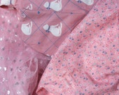 vintage 80s fabric lot pink netting sparkles flowers cats