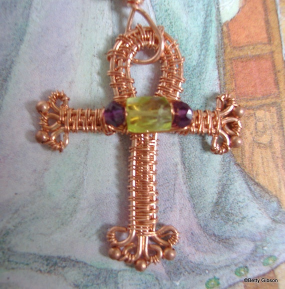 copper ankh pendant and wrought chain reserved