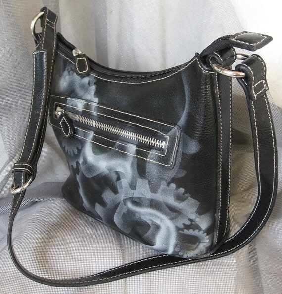 black faux leather handbag steampunk billowing steam smoke hand painted airbrush