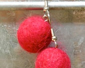 RESRVED for vintagedchic - the little stop sign RED FELT BEAD earrings and WHITE SNOWBALL earrings