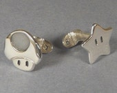Cufflinks - Sterling Silver Super Mario star and Mushroom