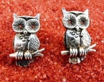 Sterling Silver Owl Cufflinks