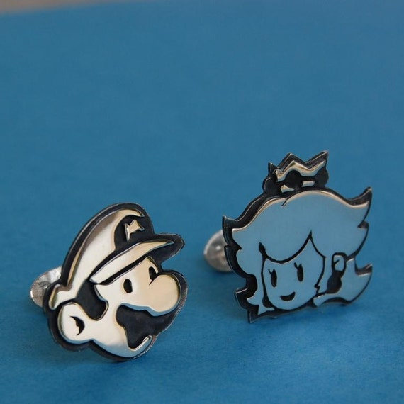 Cufflinks - Sterling silver Mario and princess peach - for grooms, groomsmen, wedding, birthday, fathers day