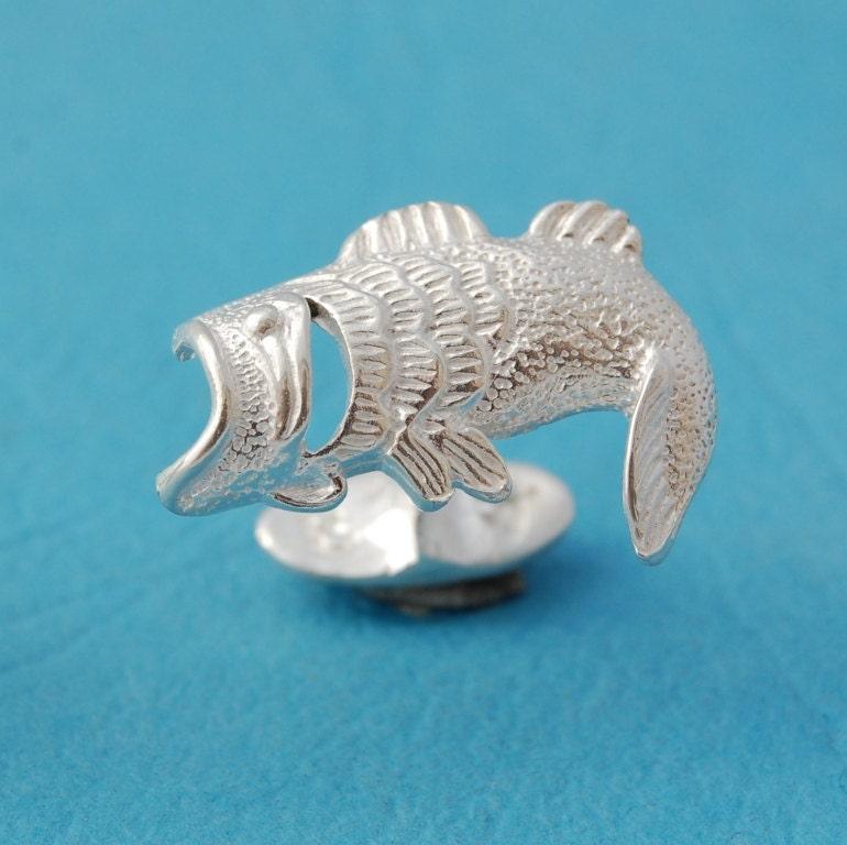 Mens cufflinks sterling silver bass fish cufflinks for Silver bass fish