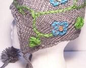 The Aviatrix Earflap Cap. Flowering Vines Aviatrix Hat in Gray