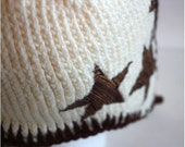 The Oh My Stars Earflap Cap.  Cream with Chocolate Brown Trim and Fabric Stars
