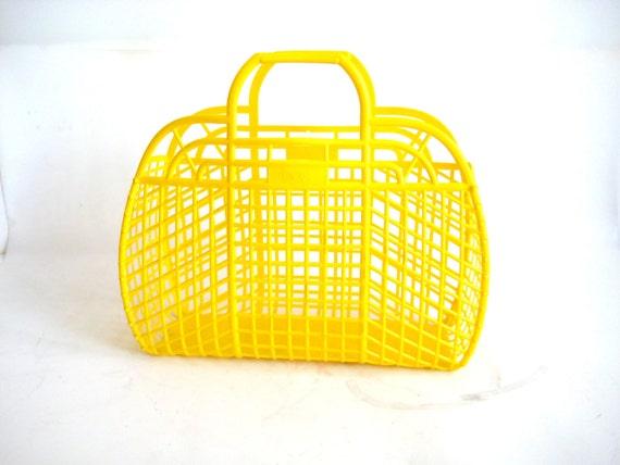 Yellow Plastic Berg Tote Bag Reusable Grocery