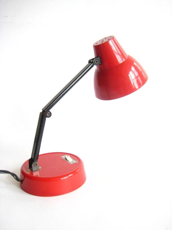 Small Red High Intensity Desk Lamp by YouAreElectric on Etsy