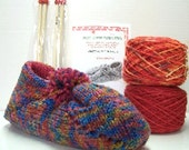 Lined Slippers Knitting Kit  Wool Colorway, Maine Lobstah, 2 Sets of Wood Needles