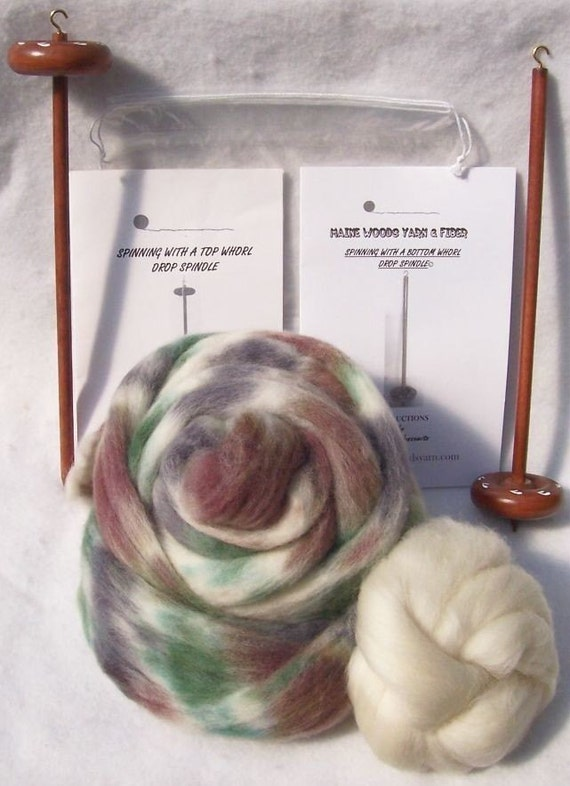 Drop Spindle Yarn Double Spinning Kit, Birch Trees With both Top and Bottom Whorl Spindles