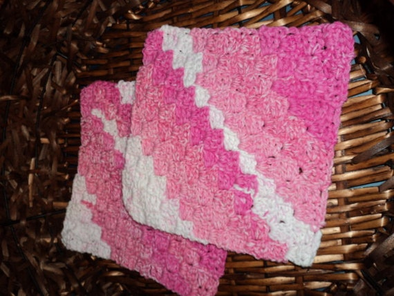 Set of two Cotton Crochet Washcloths, dish cloths with different shades of pinks and whites,  9 x 9