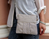 Small Blue and Tan Stripe fully lined Shoulder Bag