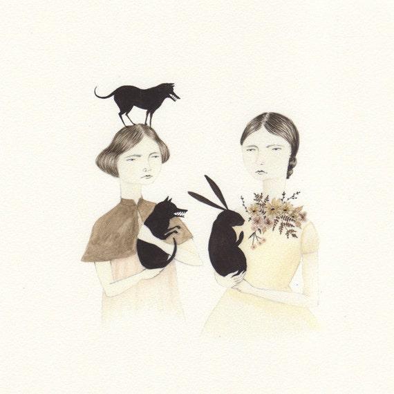 Two Girls & Friends print