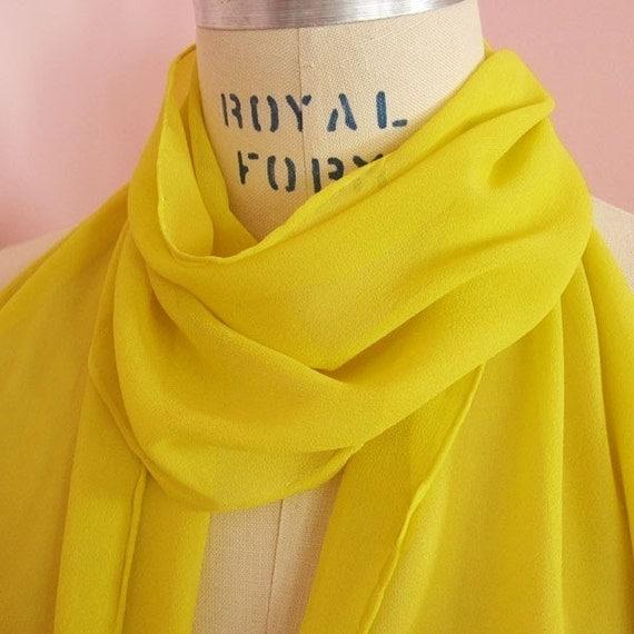 Golden Yellow Silk Chiffon Scarf