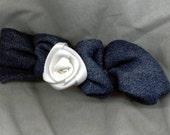White Rose Denim Hairclip