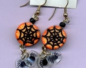 Orange Web Earrings with Spider Dangles