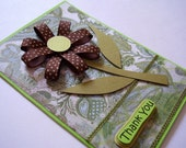 Brown Polka Dots Flower Thank You Handmade Card