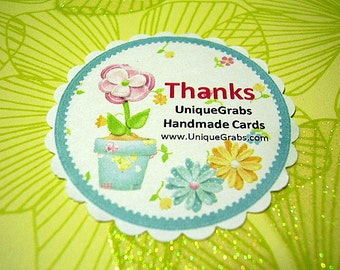 40 Custom Flower Thank You Tags