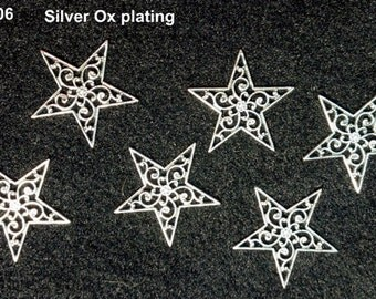 6 pcs Vintage Style Silver Ox Filigree Findings