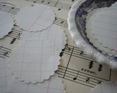 Vintage Ledger Sheets - small scalloped circle