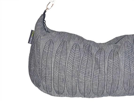 Slouch Bag - Charcoal Grey 100% Linen - Black leaf screenprint on Gray