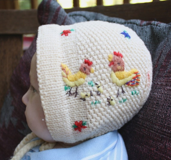 Here Chick Chick  Adorable Vintage Hand Made Wool Knit Hat Baby Bonnet Hand  Embroidered Chickens Hen Rooster Hat