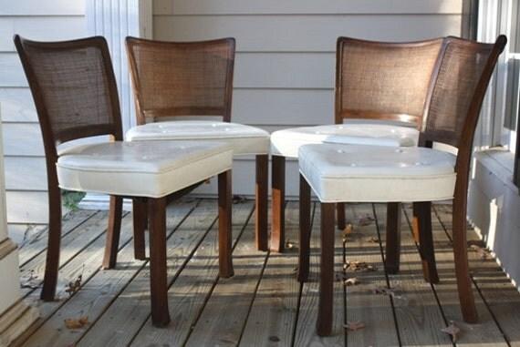 Danish Mid Century Modern Set of 4 Dining Chairs Cane Backs Walnut Wood White Leather Like Cushion Seats