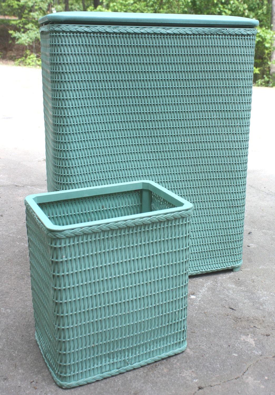 Retro Vintage Wicker Teal Waste Basket Hamper Set Bathroom