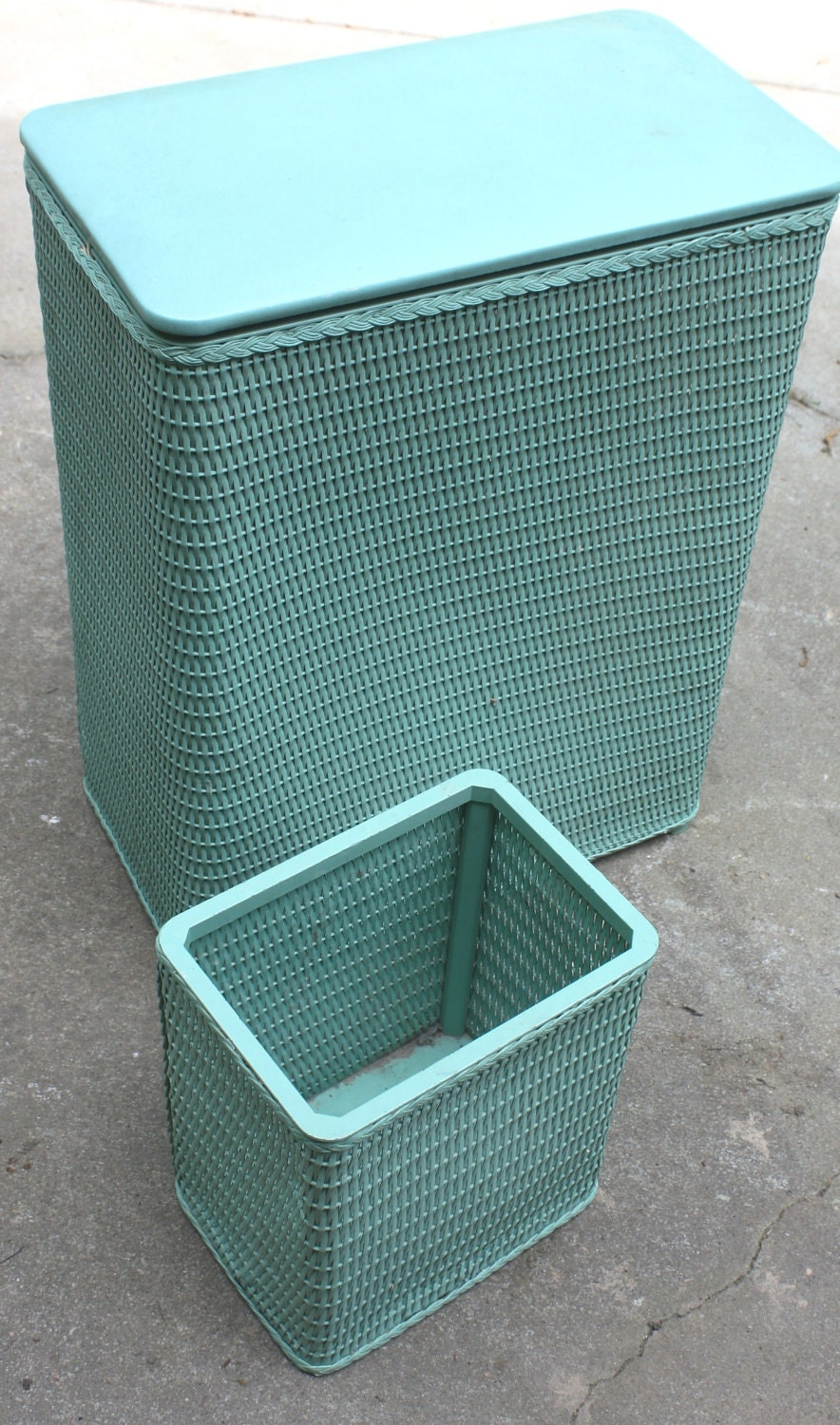 Retro vintage wicker teal waste basket hamper set bathroom for Waste baskets for bathroom