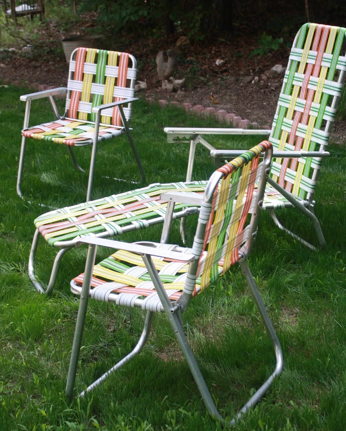 Retro aluminum woven folding patio outdoor furniture bright Metal patio furniture vintage